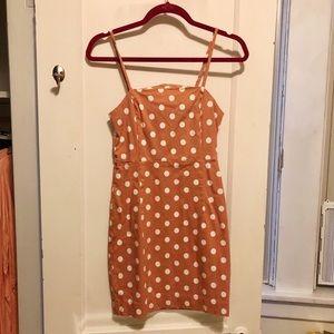 Coral polka dot dress
